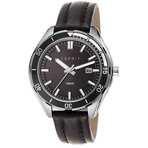 Esprit Alvarado Men's Quartz Watch with Black Dial Analogue Display and Black Leather Strap ES106931001