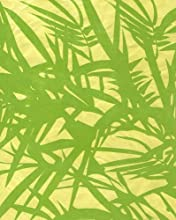 Bamboo Printed Lokta Paper- Green on Yellow Paper 20x30 Inch Sheet