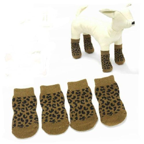 Pet Dog Leopard Print Slip-Resistant 100% Cotton Knitted Socks. (Armor Lid Bed Cover compare prices)