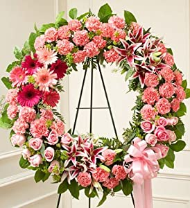1-800-Flowers - Serene Blessings Standing Wreath - Pink By 1800Flowers