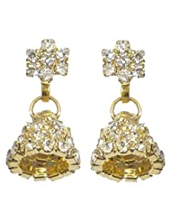 DollsofIndia Pair Of Gold Plated And White Stone Studded Ring Earrings - Stone And Metal - White