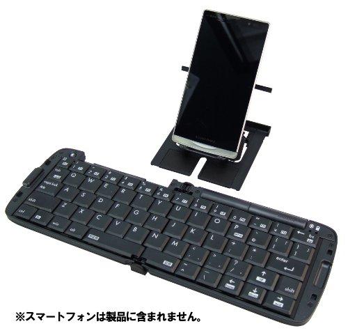 リュウド 折りたたみ式Bluetooth HIDプロファイル対応キーボード マルチペアリング4台対応 Androidスマホ/タブレット・Windowsタブレット対応 JISモード<->US配列補正モードの切替機能搭載 ブラック RBK-3000BT