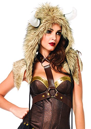 Leg Avenue Unisex Viking Furry Hood with Flail Ties Costume Accessory