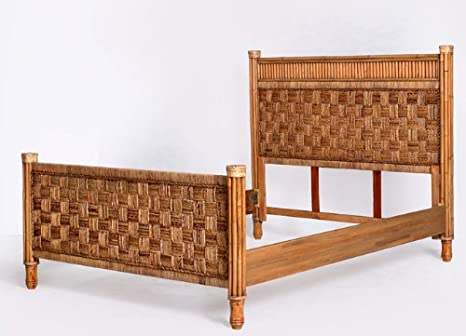 Tahiti Natural Indoor Wicker and Rattan Complete King Bed from Seawinds Trading