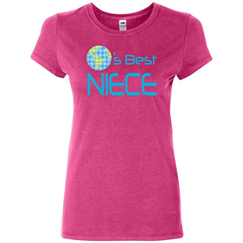 Inktastic Women's Worlds Best Niece Junior Fit T-Shirt Large Cyber Pink