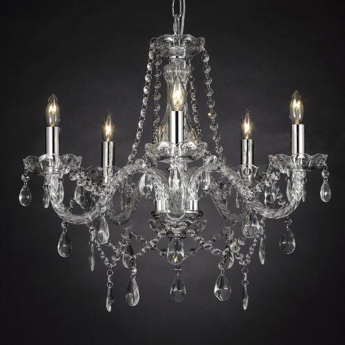 "New Authentic All Crystal Chandelier Lighting , 5 lights , FREE SHIPPING , H19"" X WD 19"" ceiling fixture pendant lamp New CHANDELIERS"