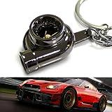 iJDMTOY Gun Metal Glossy Black Turbo Turbine Booster Shape Auto Racing Tuning Part Design Key Chain Ring