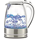Royal 1.7L Cordless Glass Electric Hot Water Tea Kettle Blue LED Stainless Steel (50 Oz, White)