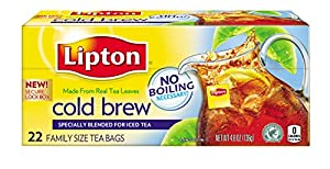 Lipton, Black Tea, Cold Brew, Pitcher Size, Tea Bags, 22Count Boxes (Pack of 12)