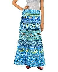 FEMEZONE Women's Elephant Print Cotton Long Wrap-around Skirt (BLUE)