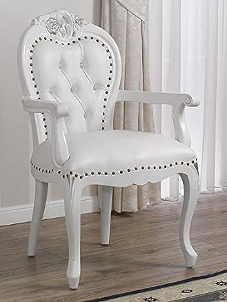 Poltrona sedia con braccioli stile Barocco Moderno bianco laccato particolari foglia argento ecopelle bianca bottoni Swarovski