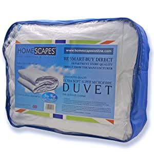 Homescapes - Ultrasoft Super Microfibre - All Seasons Duvet ( 9.5 + 4.5 Tog ) - Double Size - The Best Synthetic Duvets designed for And Used By The Best 5 and 7 Star Hotels From Around The World - Anti Allergy - Anti Dustmite - Box Baffel Construction - Washable at Home