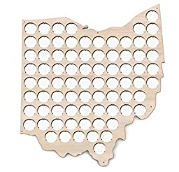 Ohio Beer Cap Map - 14x16 inches - 77 caps - Beer Cap Holder Ohio - Birch Plywood