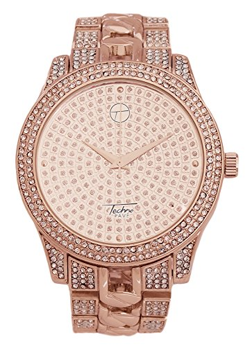 Techno Pave - Fully Iced Out Rose Gold Metal Band Watch with Rose Gold Iced Face and Bezel (Fully Iced Out compare prices)