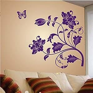 Decals Design 'Vine Flower' Wall Sticker (PVC Vinyl, 50 cm x 70 cm, Purple)
