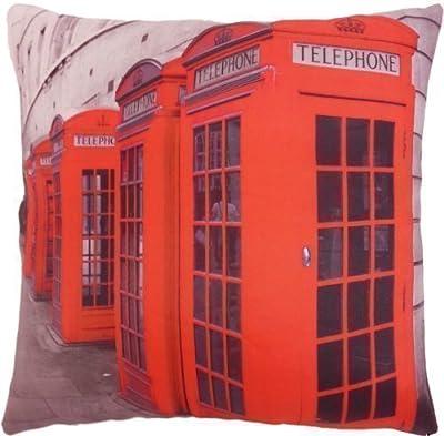 KissenhÜlle Funky UngewÖhnliche Englisch Britische Telefonzelle Rot Schwarzer Kissen Bezug 45cm von PCJ SUPPLIES bei Gartenmöbel von Du und Dein Garten