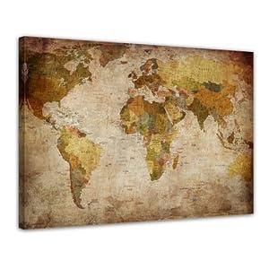 bilderdepot24 image cadre de mappemonde r tro xxl 120x90 cm 1 piece tableau sur toile image. Black Bedroom Furniture Sets. Home Design Ideas