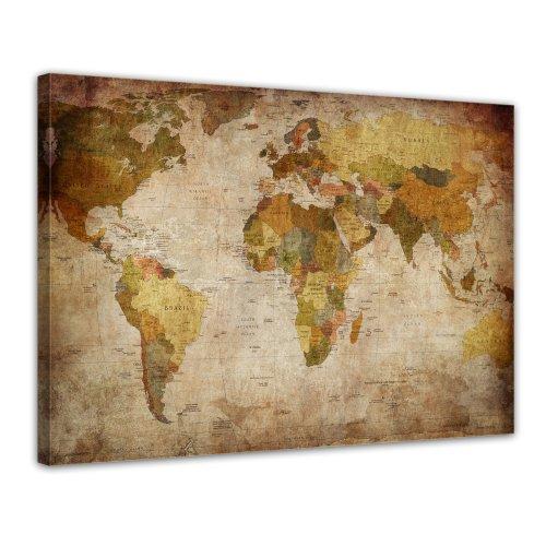 Bilderdepot24 Leinwandbild Weltkarte retro - 70x50 cm 1 teilig - fertig gerahmt, direkt vom Hersteller