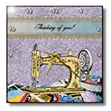 3dRose dpp_179323_2 Vintage Flowered Yellow Sewing Machine with Colorful Quilt, Thinking of You-Wall Clock, 13 by 13-Inch