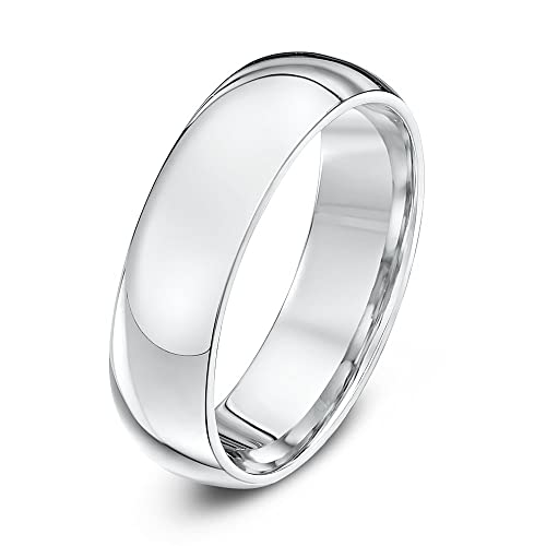 Theia 18ct Gents Heavy Court Shape Wedding Ring - 6 mm, White Gold