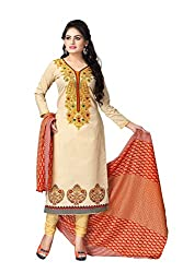 Vaamsi Womens A-Line Salwar Suit Dress Material (Cocp7 _Beige _Free Size)