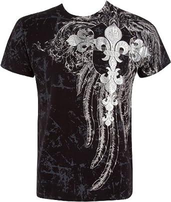 TGFleurCroix507 Fleur de Lys Croix En relief argent métallique Manches courtes Col rond Coton T-Shirt Fashion homme - Noir / Petit
