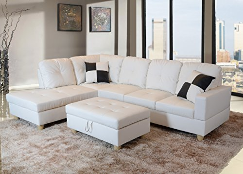 Beverly Furniture Beverly White 3 PieceFaux Leather Right-facing Sectional Sofa Set with Storage Ottoman, White