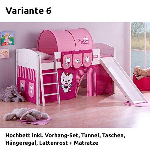 Hochbett Spielbett IDA Angel Cat Sugar, mit Rutsche und Vorhang, weiß, Variante 6 günstig bestellen