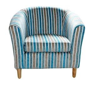 sessel stoffbezug gestreift blaugr n wei grau. Black Bedroom Furniture Sets. Home Design Ideas