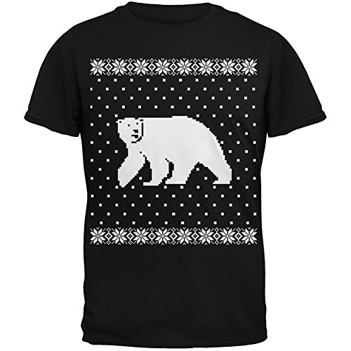 Big Polar Bear Ugly Christmas Sweater Black Adult T-Shirt - Medium