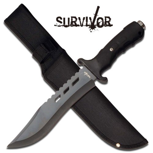 "Survivor ""Kilimanjaro"" 12"" Survival Knife - Black"