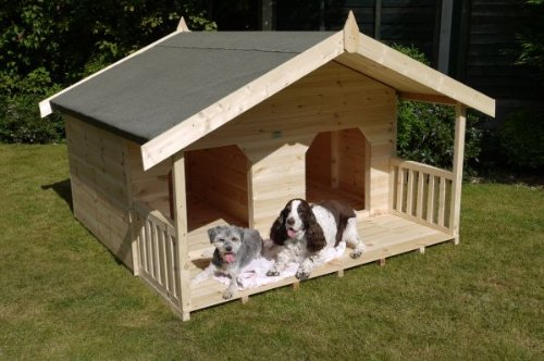 Luxury Double Dog Kennel Summerhouse for 2 Large Dogs, Unique Design, Manufactured in Swedish Redwood Timber T & G  Please Note Restricted Delivery Areas