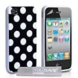 Yousave Accessories AP-GA01-Z323 Pack de Housse en Silicone Gel + Film de Protection d&#39;Ecran pour iPhone 4/4Spar Yousave Accessories