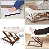 JJOnlineStore-höhenverstellbar Holz Fußhocker mit Komfort flauschig-Cover 3Höhe Einstellungen Fuß