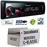 Mercedes-C-Klasse-W202-Pioneer-MVH-180UI-MP3USB-Autoradio-Einbauset
