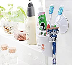 Okayji Stylish Suction Cup 3 in 1 Toothpaste Toothbrush Holder with Shaving Razor Holder Tight Grip