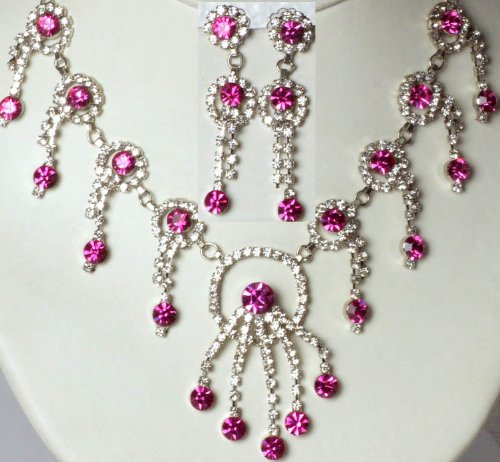 Hot-Pink Victorian Necklace and Earrings Set with Cut Glass - White Metal with Cut Glass