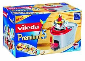 Vileda 140784 Premium 5 Rotationseimer - Bezug per Pedaltritt auswringen - optimale Kontrolle der Feuchte des Bezuges - kein Bücken, keine nassen Hände