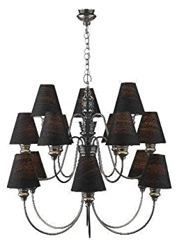 Cosmopolitan - 15 arm Pewter Finish Chandelier & black silk shades - Houseoflights