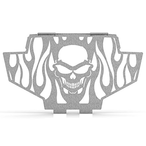 Skull Flame Brushed Stainless Radiator Grill Guard fits: 2011-2014 Polaris RZR 800 - Ferreus Industries - GRL-141-09-Brushed (2011 Rzr Grill compare prices)