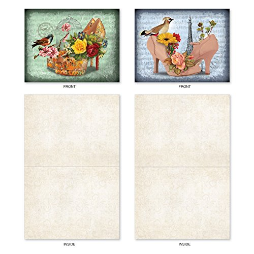 M2347OCB Fancy Footwork: 10 Assorted Blank All-Occasion Note Cards Featuring Romantic Victorian Shoe Collages Filled with Beautiful Flowers, w/White Envelopes.