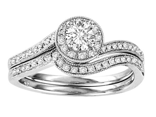 0.50 (1/2) cttw Round Diamond Bridal Engagement Wedding Set / Ring  14kt White Gold