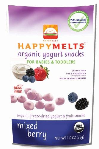 HAPPYMETLS Organic Yogurt Snacks for Babies & Toddlers, Mixed Berry, 1-Ounce Pouch (Pack of 8)