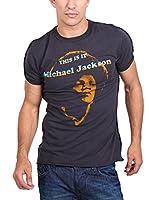 Amplified Camiseta Manga Corta Vintage-Michael Jackson (Azul Oscuro)
