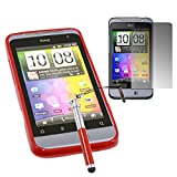 ITALKonline HTC Salsa RED Slim Grip TPU Gel Case Soft Skin Cover with Screen Protector and Retractable Stylus Pen