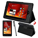 Skque Clear LCD Screen Protector + Black Stand Leather Case + Touch Stylus Pen for Acer ICONIA TAB A100 7 inch Tablet