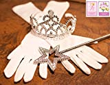 3 Piece Set: White Princess Gloves with Silver Tiara,Wand and Drawstring Bag