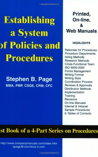 Establishing a System of Policies and Procedures