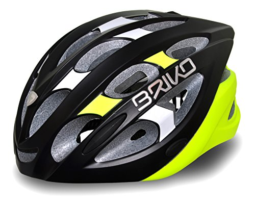 BRIKO Quarter Casco Bici, Unisex, taglia L, Unisex, Briko Quarter, matt black/White, L