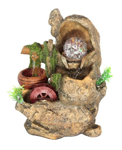 Rock Stone with Water Wheeler LED Lights Tabletop Water Fountain